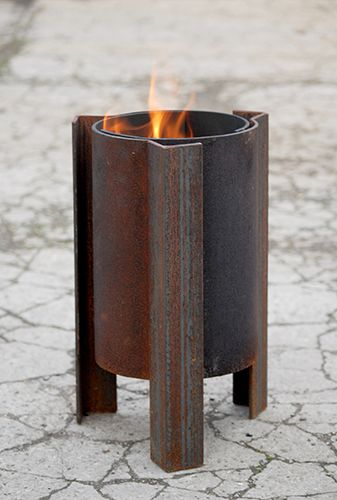 Tufa small contemporary fire pit, swirling flames, quality modern firepit