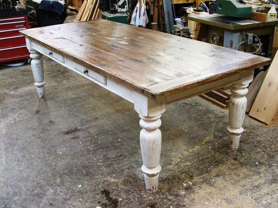 White scrubbed pine farmhouse table i like turned legs for White turned leg dining table