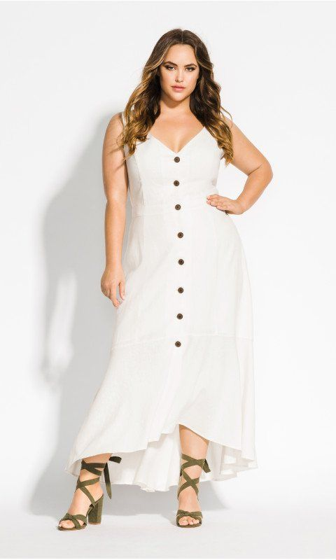 34bed77293 Shop Women s Plus Size Sweety Button Maxi Dress - ivory