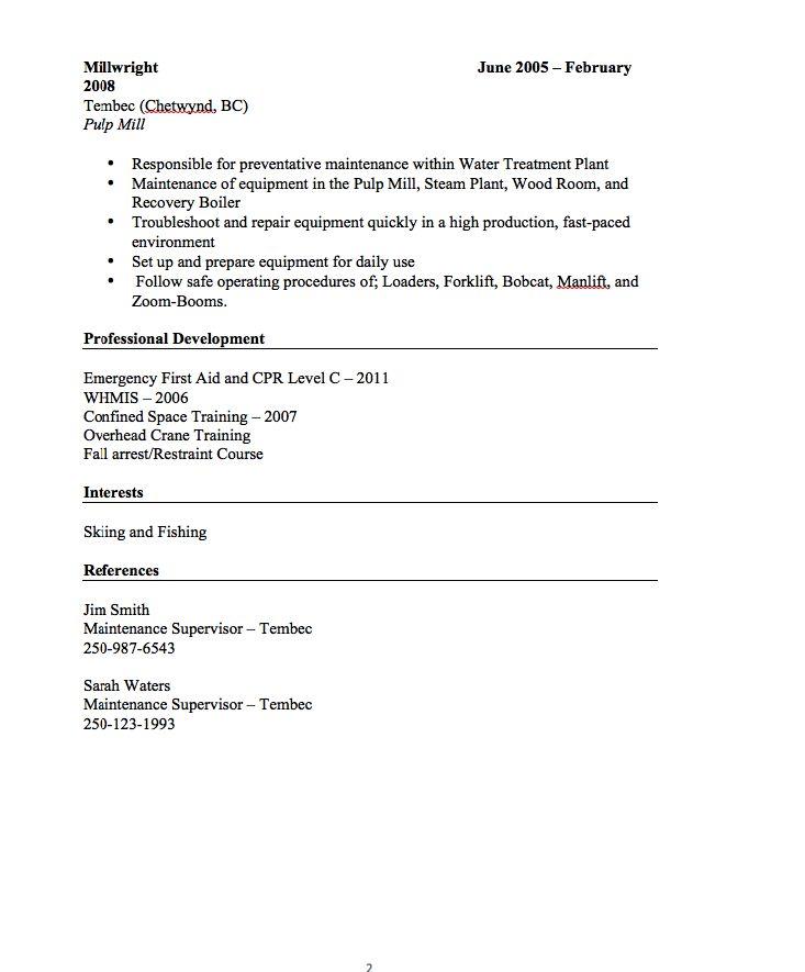 millwright resume sample    resumesdesign com  millwright
