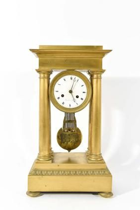 Lot: French empire bronze mounted mantle clock, 19-1/2''h,, Lot Number: 0117, Starting Bid: $100, Auctioneer: South Bay Auctions, Inc., Auction: FINE ART, ANTIQUES & SPORTING AUCTION, Date: February 8th, 2014 CET