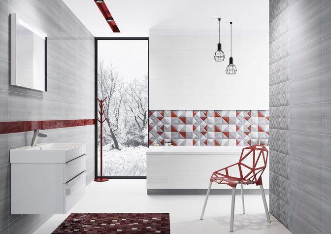 czerwone dodatki, nowoczesna aranżacja, geometria, strukturalne płytki - Delicate lines - Opoczno - geometryczny wzór w nowoczesnych kolorach szarości i czerwieni. Aranżacja łazienki dla szukających nieszablonowych rozwiązań.