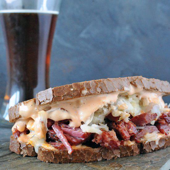 Beer Braised Smoked Corned Beef Burnt Ends Sandwich
