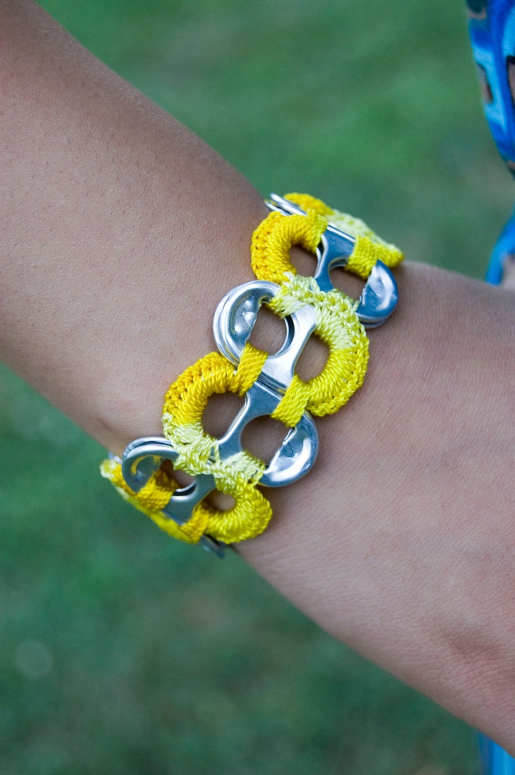 Bright Yellow - Multicolor Pop Tab Upcycled Crochet Bracelet. $3.50, via Etsy.