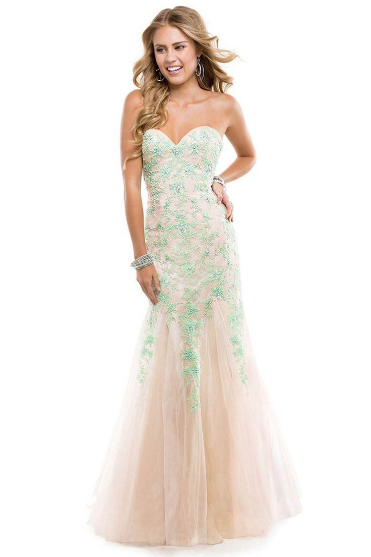 2014 Elegant&Perfect Nude Lavender Tulle Lace Prom Dress Corset Mermaid