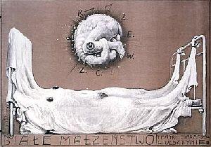 Biale malzenstwo. Tadeusz Rozewicz. Poster designed by Franciszek Starowieyski