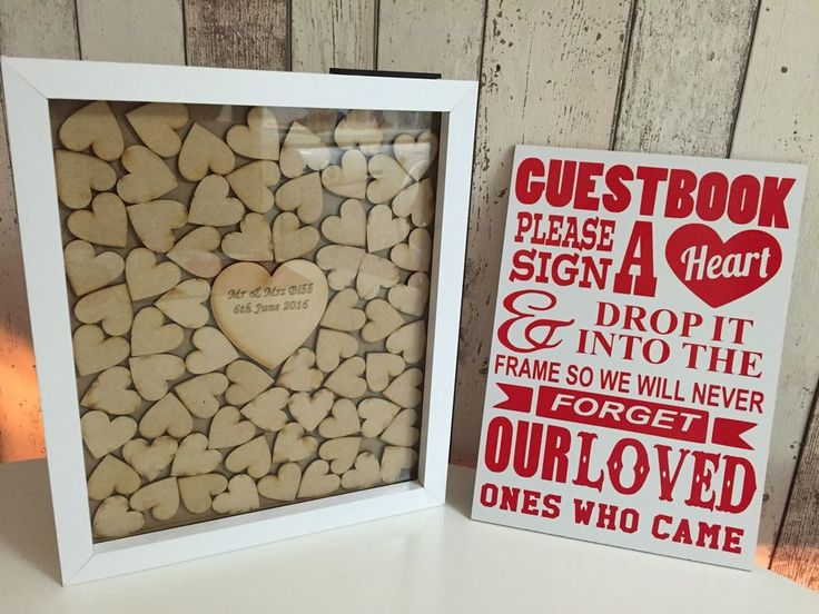 Drop Top Wedding Guest Book Alternative Personalised Heart Of Hearts Wooden In Home Furniture