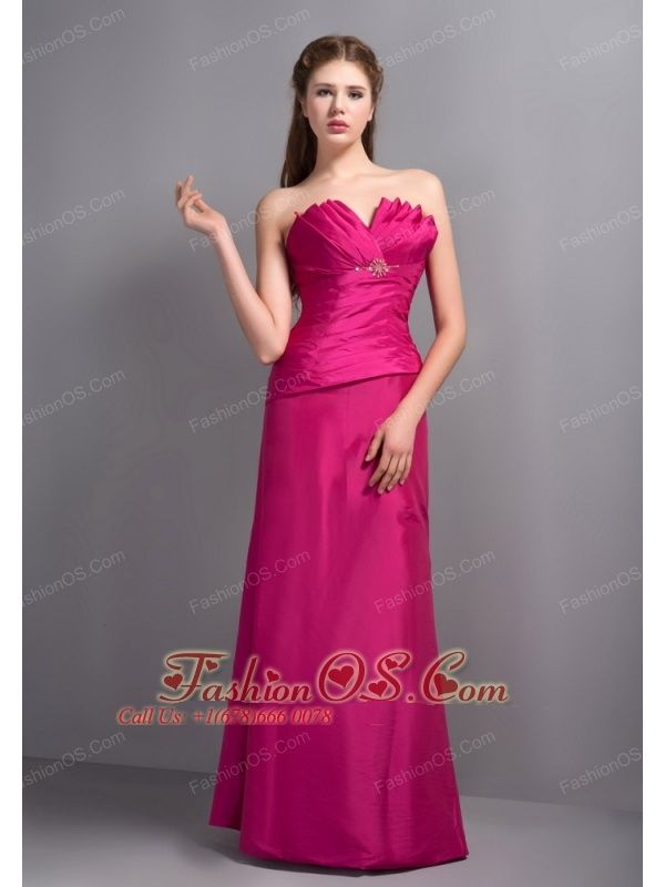 Elegant Hot Pink V-neck Bridesmaid Dress with Beading- $132.79  http://www.fashionos.com  http://www.youtube.com/user/fashionoscom?feature=mhee   If you're looking to make a lasting impression at your upcoming formal event, this stunning dress can make sure that you do. It features a lovely strapless bodice with a special neckline and pretty pleated texture. The skirt falls down directly in a natural way, cteating a glamorous look.