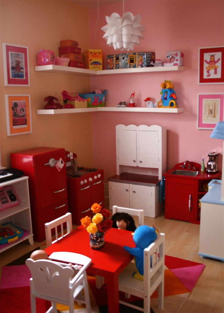 Kids play corner home corner play room red and white for Small childrens kitchen