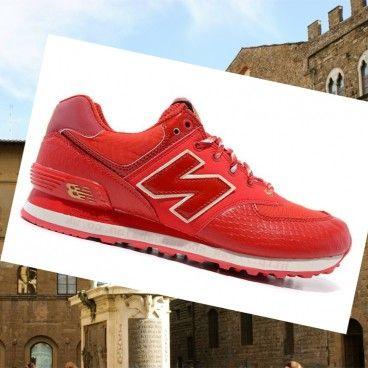 Bari New Balance 574 in Pelle di serpente Donna scarpe da ginnastica rosso scuro rosso oro Boutique