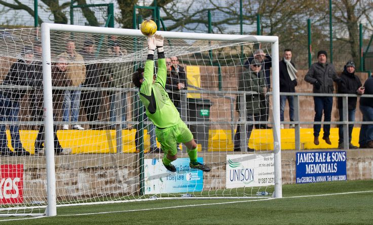 Annan Athletic's keeper Jordan Hart makes a save during the SPFL League Two game between Annan Athletic and Queen's Park.