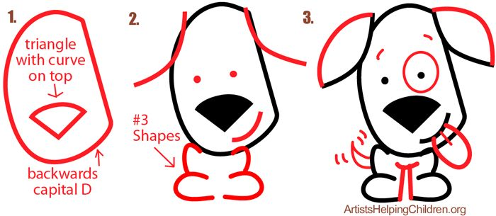 Big Guide to Drawing Cartoon Dogs & Puppies with Basic Shapes for Kids - How to Draw Step by Step Drawing Tutorials