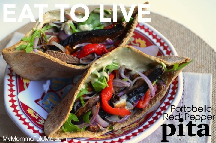 Dr. Fuhrman's Eat to Live Nutritarian Portobello Pepper Pita recipe--this is so fast & easy I make it several times a week!