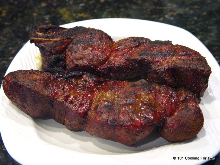 Slow Grilled Bone In Country Style Pork Ribs- These look great, especially since they're not smothered in sauce!