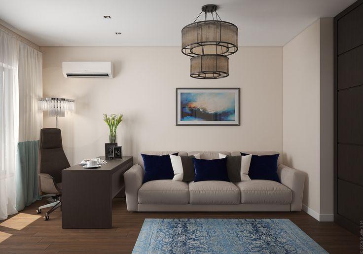 Кабинет с функцией гостевой спальни на первом этаже дома в Подмосковье.