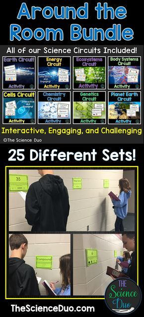 Encourage student movement in your classroom while promoting learning with a fun and engaging activity! This bundle contains 25 Around the Room Circuits focused on Physical science, Earth and Space science, and Life science.