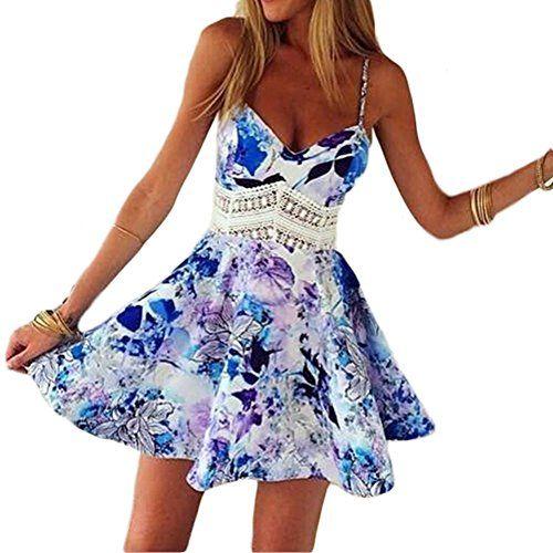 ipretty Sexy Damen Sommerkleid kurz V-ausschnitt Damen strandkleider damen Kleid Rock Partykleid Cocktaikleid