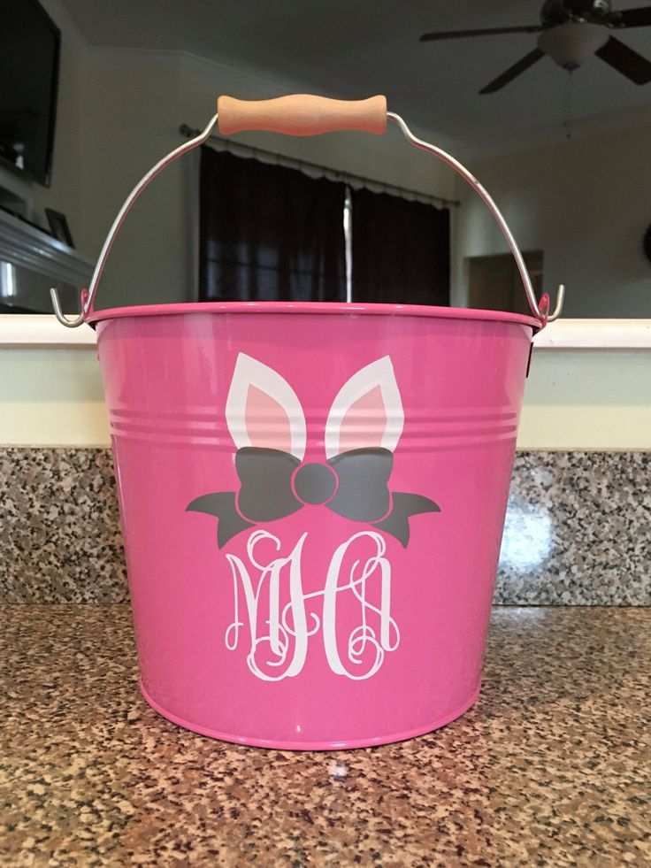 Personalized Easter Bucket, Metal Easter Bucket, Monogrammed Pink Easter Bucket, Bunny Ear Monogram, Bow Monogram Easter Basket by MamaLovesVinyl on Etsy