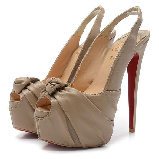 Christian Louboutin 20ans Gres 160mm Cuir Plate-forme Peep Toe Pompes Beige Soldes CL067