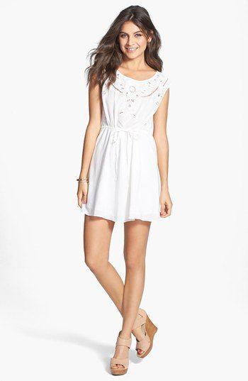En Crème Embroidered Skater Dress (Juniors) in Off White