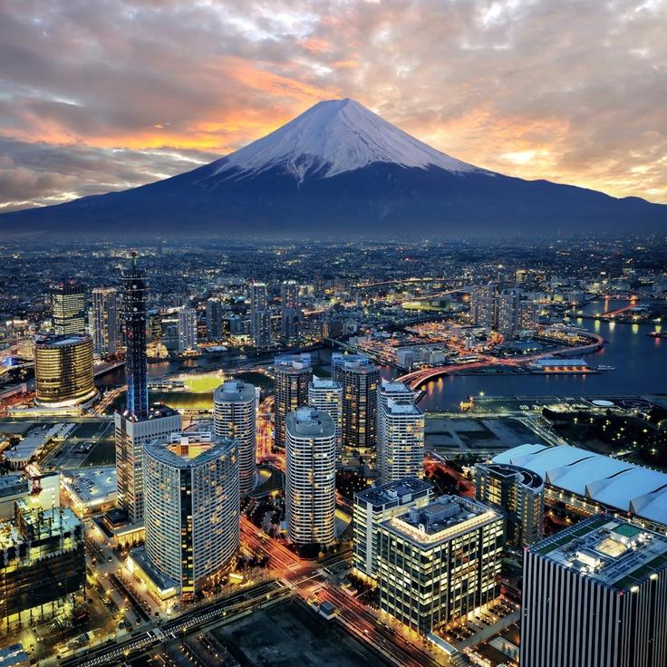 Mount Fuji overlooking the city of Yokohama, Japan