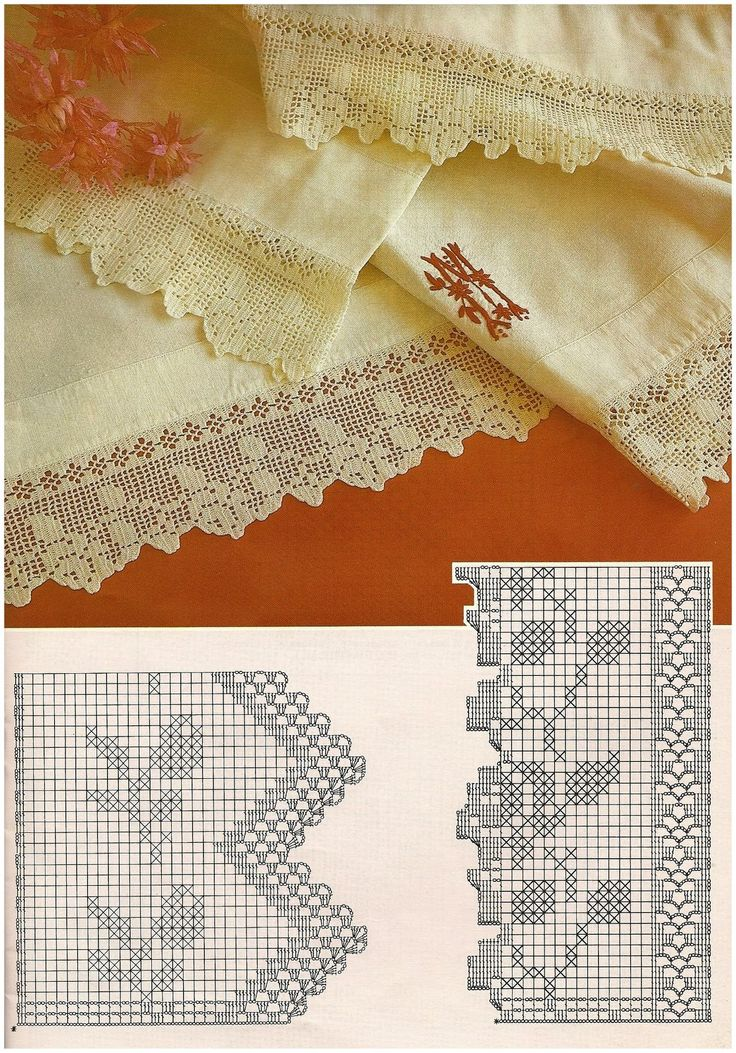 Beautiful filet crochet lace edging with roses design and interlaced diamonds on inner straight border