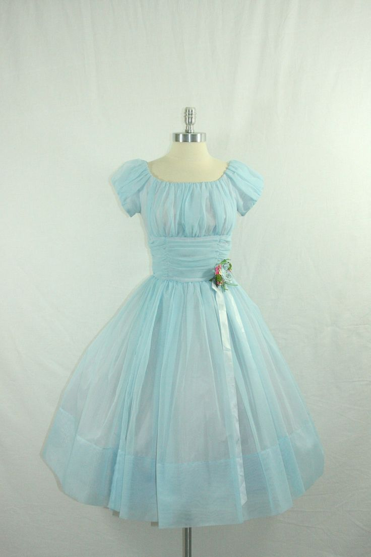 Vintage 1950's Blue Wedding Dress - Aww, this looks like Wendy's dress from Peter Pan! pretty :)