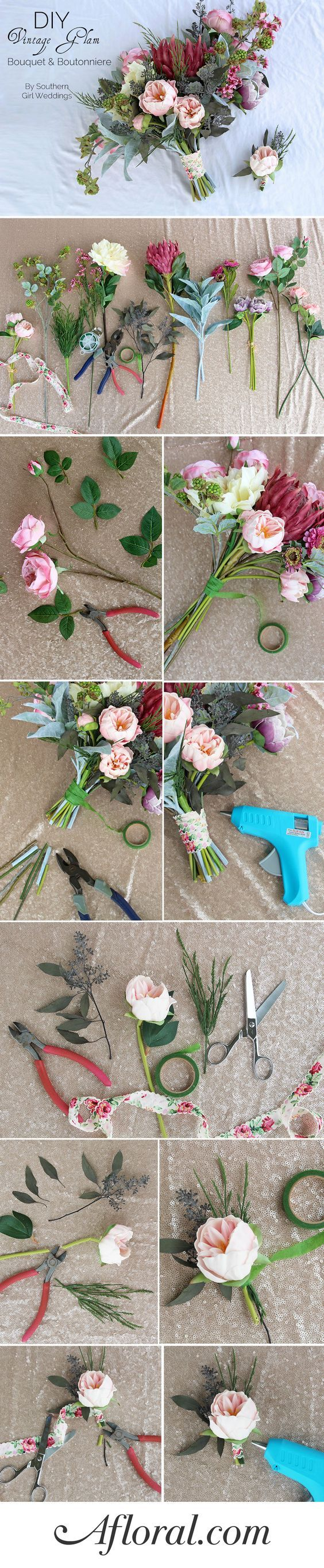 Learn how to make your own wedding bouquets and matching boutonnieres with this simple DIY from Southern Girl Weddings with flowers from afloral.com. #diywedding