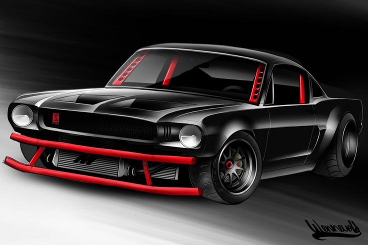 65' Mustang  rendering Hot rod Protouring Mishimoto Drawing Andreas Hoås Wennevold