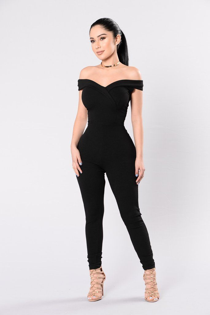 - Available in Black & Marsala - Ribbed Jumpsuit - Off Shoulder - V Neckline - Fitted - Made in USA - 95% Polyester 5% Spandex