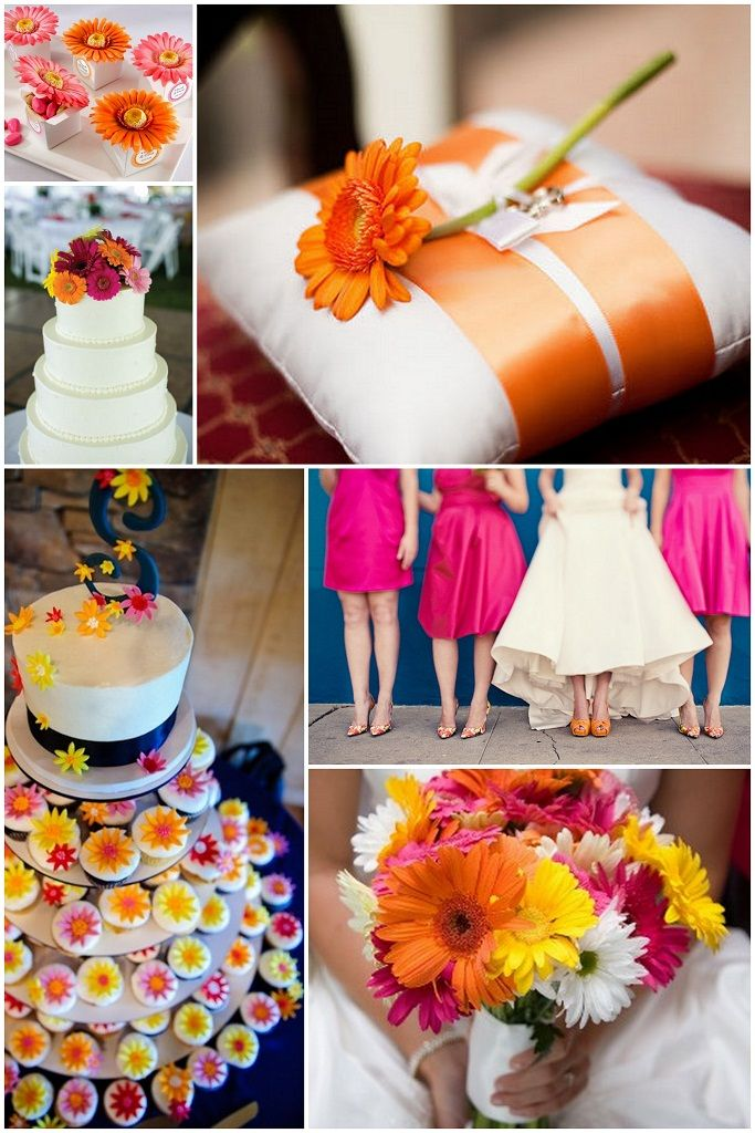 I absolutely love gerber daisies.. these and the cheesecake wedding cake I pinned would make for a perfect wedding :)
