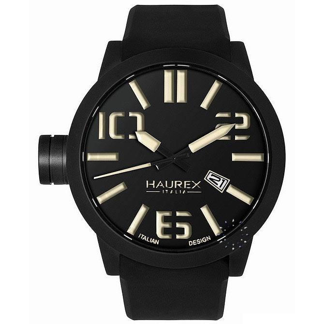 HAUREX TURBINA Black Rubber Strap, 177€ http://www.oroloi.gr/product_info.php?products_id=27499