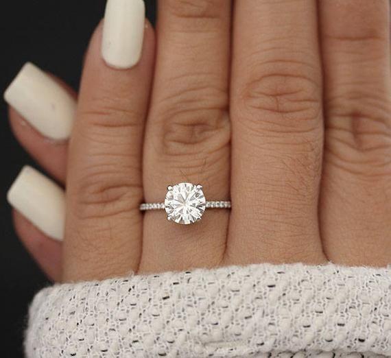7mm Round Moissanite Forever Classic Engagment Ring White | Etsy #WeddingRings #…