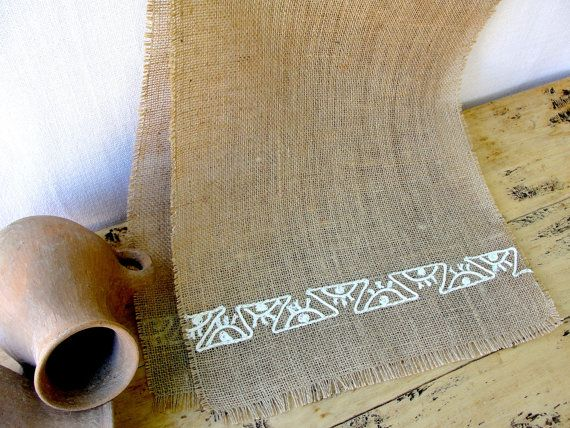 Very Cool!  Southwest Burlap Table Runner Rustic Wedding by HotCocoaDesign, $29.00