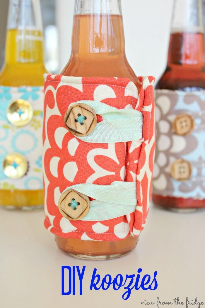 Cute DIY Koozies with Amy Butler fabric by @Patricia Smith Smith Smith K. Comeau From The Fridge/