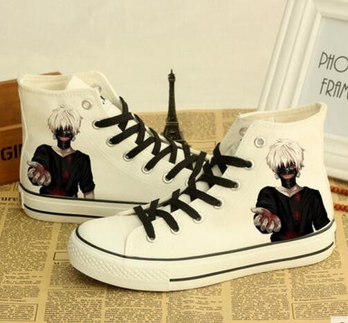 Kaneki Ken Printed Lace Up Ankle Shoes Unisex Casual Canvas Shoes Anime Tokyo  Ghoul