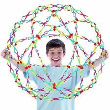 "An expanding/collapsable sphere made up of 6 intersecting circles. Unfolds from 9.5"" to 30""."
