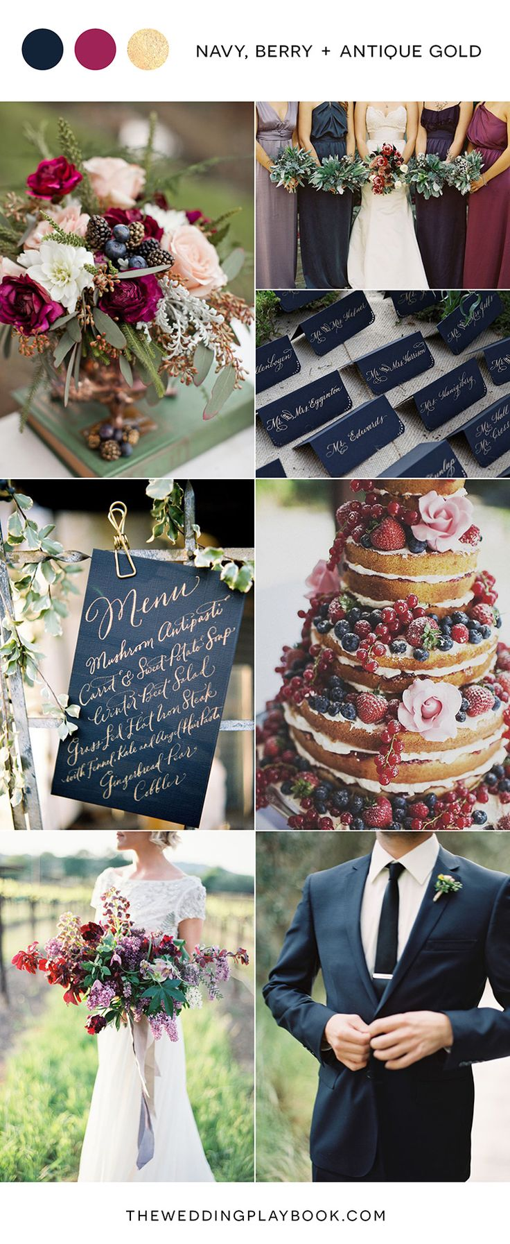 Navy, Berry & Antique Gold Wedding Mood Board