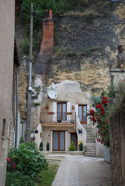 A house built into the rock hillside in Amboise, France