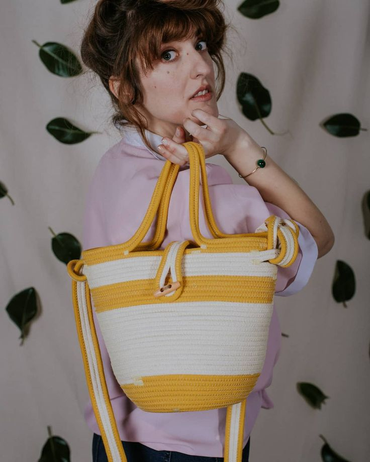 Yellow cotton rope bag. Birdie model by Palmito!
