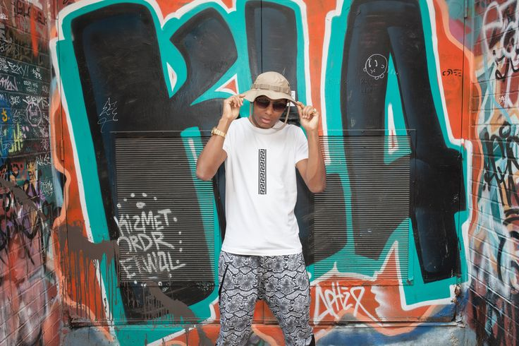 Casual Street Style Mens Tee With Greek Key Print, Gangster style