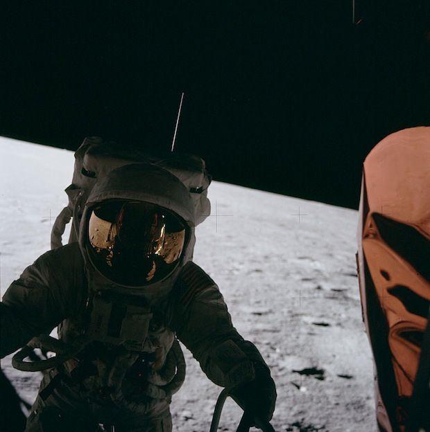 Apollo 12 astronaut Pete Conrad exiting the lunar module. #space