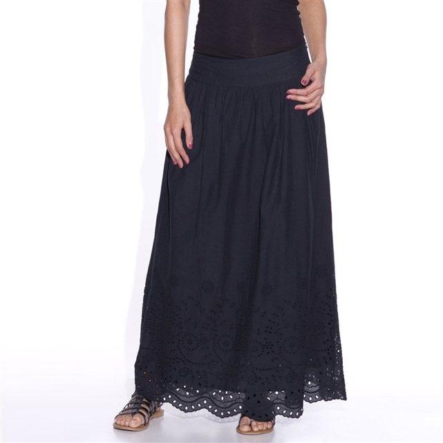 Lange rok met boord in Engelse kant, zuiver katoen