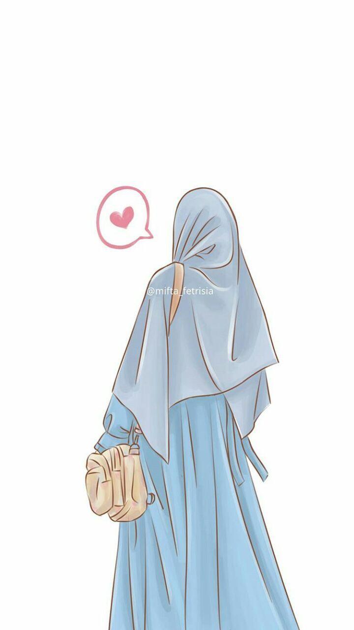 Foto Kartun Muslimah 6 Orang Gambar Gadis Animasi Ilustrasi Orang
