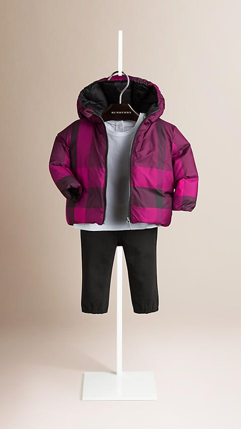 Claret pink Check Reversible Down-filled Jacket - Image 1