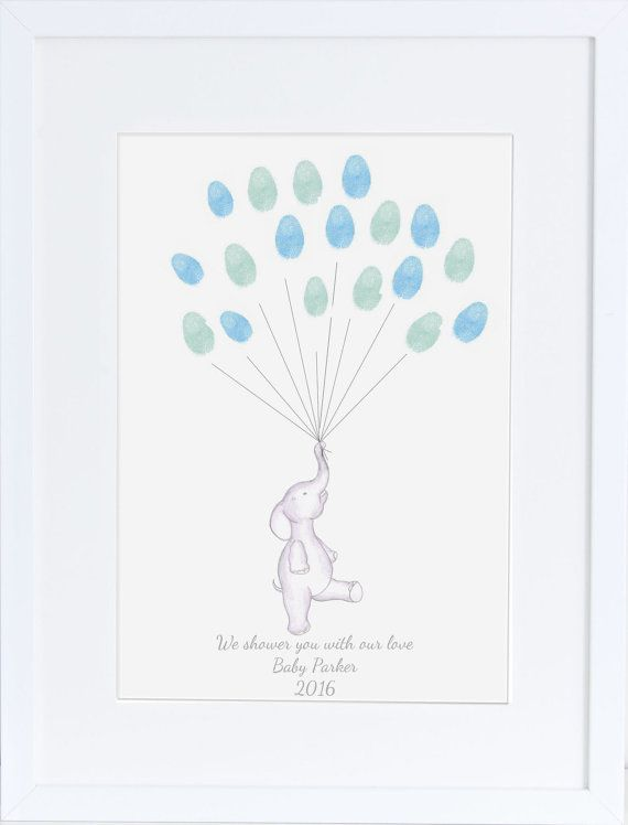 Elephant baby shower thumb print balloons https://www.etsy.com/uk/listing/181198063/baby-shower-keepsake-art-elephant