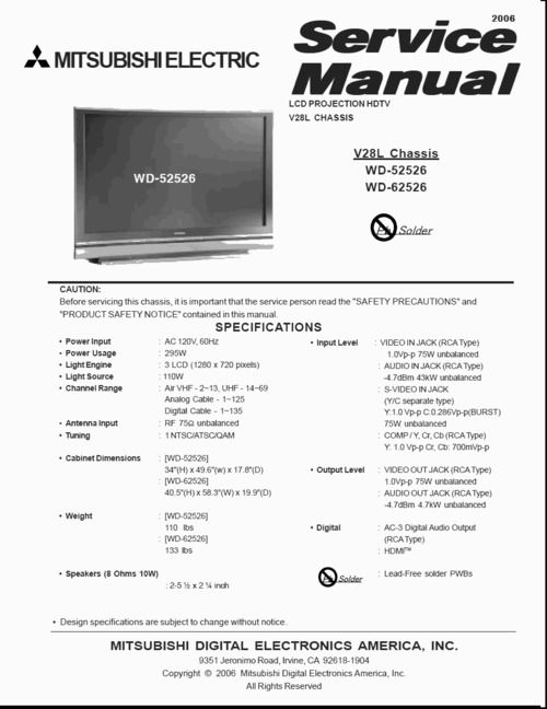 Mitsubishi WD-52526 , WD-62526 , V-28L chassis , LCD PROJECTION HDTV , Service Manual & DOWNLOAD
