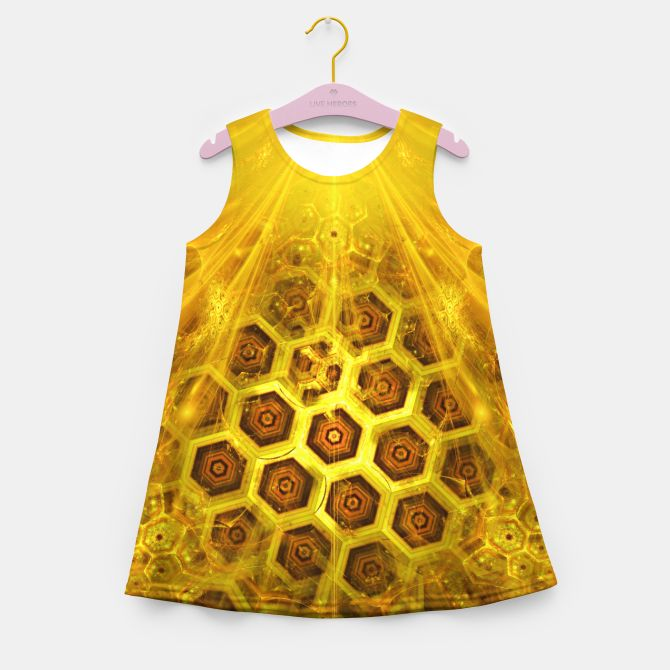 Golden Honeycombs Girl's Summer Dress, Live Heroes @liveheroes by @photography_art_decor. All product: https://liveheroes.com/en/brand/oksana-fineart #fashion #clothing #online #shop #gold #golden #honeycombs #honey #bee #summer #graphic #design #geometry #geometric #yellow #metalic #bright #shine #pattern #psychedelic #abstract #metalic #sun #abstract #briht #pattern  #trendy #stylish #fashionable #modern #awesome #amazing #clothes