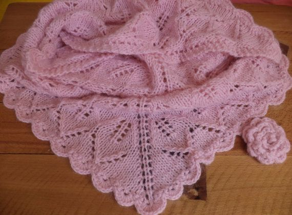 Pink shawl with brooch