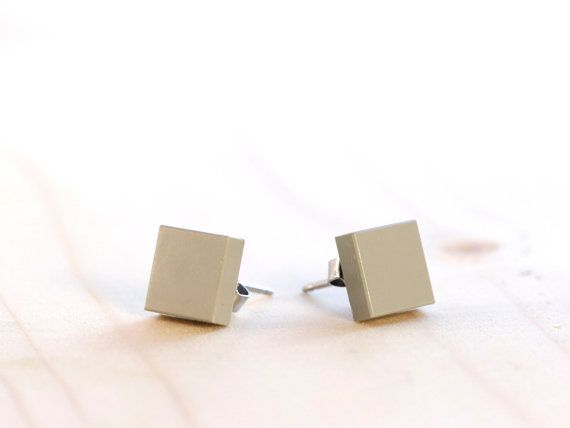 Grey LEGO® earrings ~ Gray square earrings for men ~ Mens earrings ~ Square earrings for guys ~ Guys earrings studs ~ Geekery gifts for dad ~ Exclusively at http://BrickandButton.Etsy.com